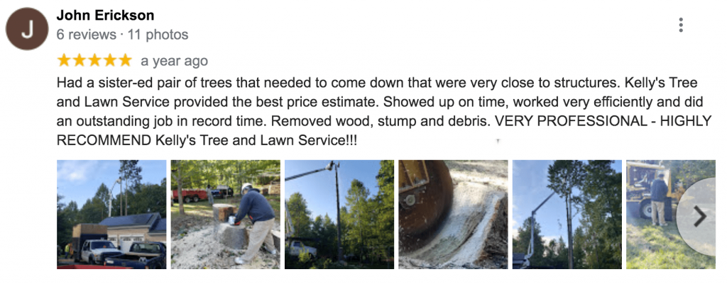 5 Star Review Of Kellys Tree Service